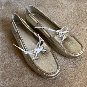 NEW Sperry gold metallic topsider loafers